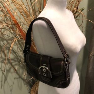 Coach 100% Leather Small Brown Shoulder Bag